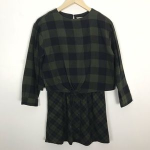 Zara Girls Plaid Flannel Dress Green Size 13/14